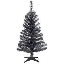 Black Tinsel Artificial Christmas Tree