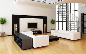 Clean Laminate Floor Decorated With Modern Black And White Apartment Living Room Interior Set Plus Framed