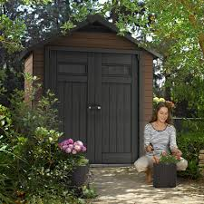 Suncast Vertical Storage Shed Bms4500 by Keter Fusion Large 7 5 X 4 Ft Wood U0026 Plastic Outdoor Yard Garden