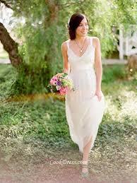 Sleeveless Ivory V Neck Lightweight Chiffon Rustic Fall Wedding Dress