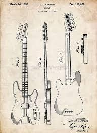 Fender Precision Bass Guitar US Patent Art Poster Print