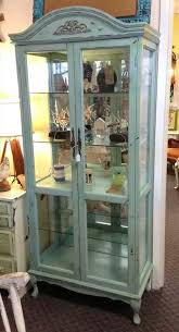Pulaski Display Cabinet Vitrine by Country French Style Hand Painted Lighted Display Curio Cabinet
