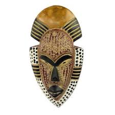 West African Hand Carved Wood Mask Wall Decor