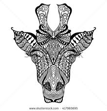 Giraffe Hand Drawn With Ethnic Floral Doodle Pattern Coloring Page Art Design