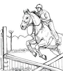Coloring Horses Jumping Pages Printable Horse
