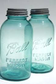 Blue Kitchen Canisters Vintage Aqua Glass Ball Perfect Mason Jars Big Two Quart Size Canning