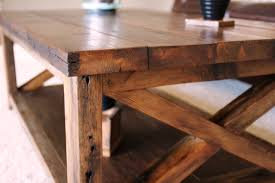 Teak Rectangle Varnished Wood Rustic X Coffee Table Designs To Complete Living Room Ideas