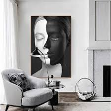abstrakte porträtmalerei schwarz weiß gesichter kunst