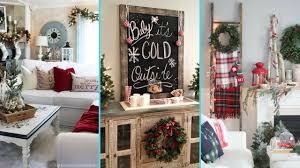 DIY Rustic Shabby Chic Style Christmas Living Room Decor Ideas