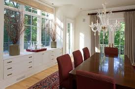 Under Window Lowboy Dresser Dining Room Traditional With Oriental Rug Chandeliers