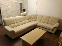 couchgarnitur sofa wohnzimmer sitzecke in beige mikrofaser