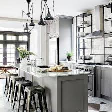 Kitchen Island With Vintage Swing Arm Pendants