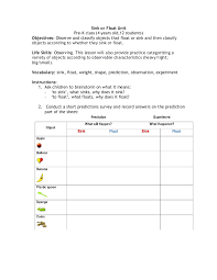 Materials Sink Or Float by Sink Or Float Unit Instructions