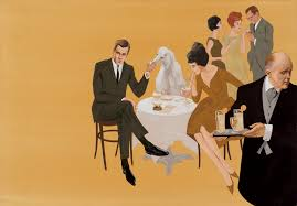 1961 Fashion Illustration By Larry Salk Titled Summer Cocktail Party With English Butler