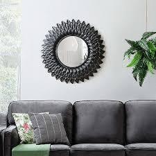 stilvoller spiegel rund metall blumenoptik silbern larrau