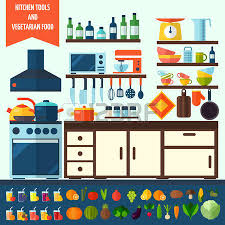 Flat Kitchen And Vegetarian Cooking Icons Tools Kitchenware Equipment Symbol Collection Colorful