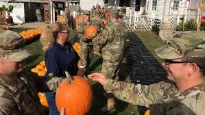 Kenova Pumpkin House by National Guard Helps Set Up Displays For The Pumpkin House