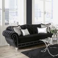 Armen Living Barrister Sofa by Armen Living Barrister Modern Black Velvet Sofa With Crystal
