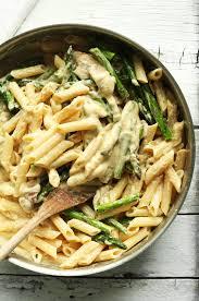 Pan Full Of Our 30 Minute Gluten Free Vegan Creamy Asparagus Mushroom Pasta