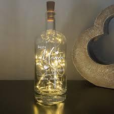 edle deko flasche mit gravur und inkl led beleuchtung