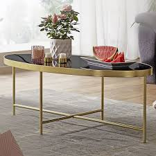 couchtisch glas schwarz oval 110x56 cm metallgestell großer wohnzimmertisch lounge tisch glastisch gold wohnling