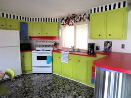 02 Freshly Green Kitchen Cabinets Bright Red Countertop White Colored Appliances