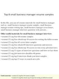 Here Are Business Banker Resume Small Sample Top 8 Manager Samples 1 In