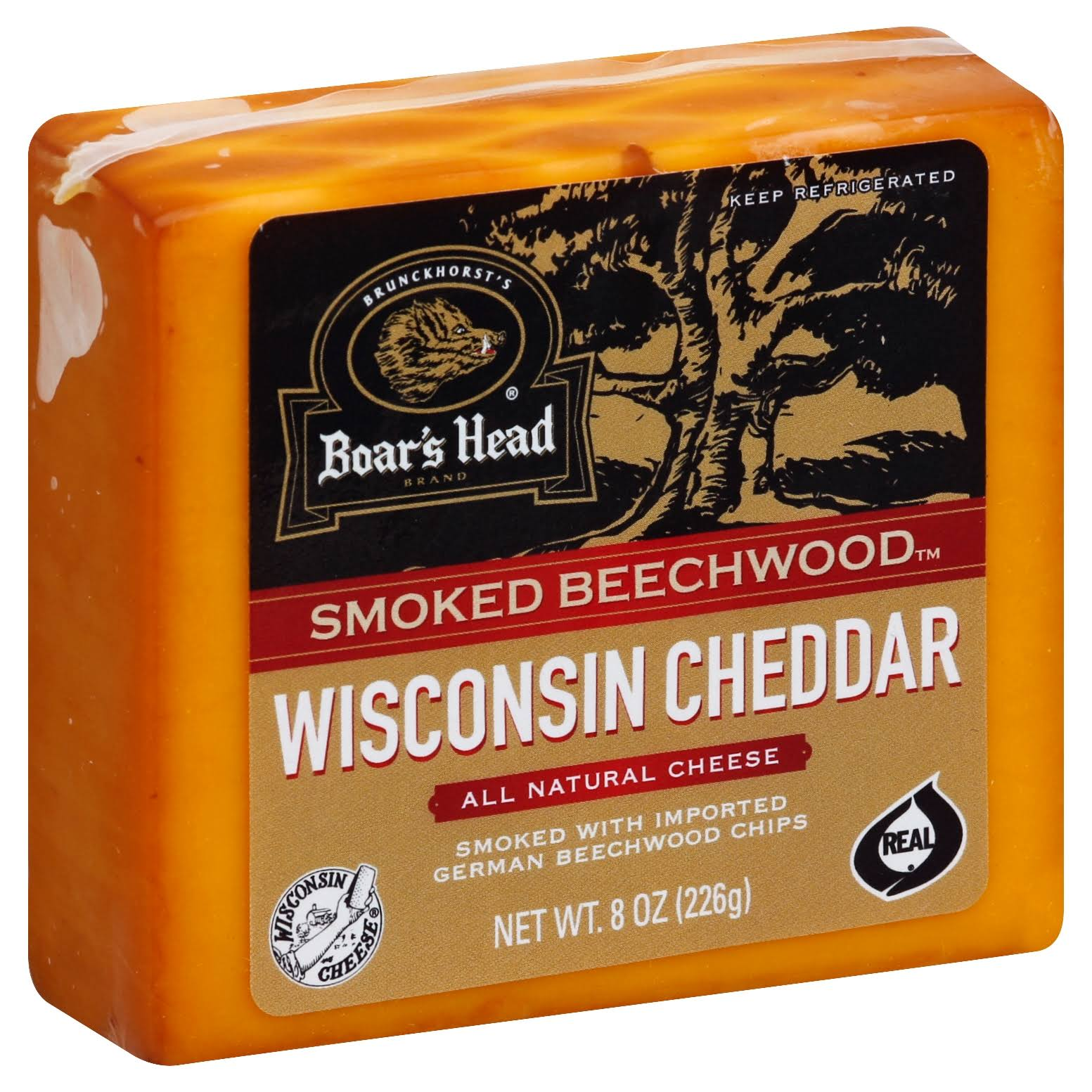 Boars Head Cheese, Wisconsin Cheddar, Smoked Beechwood - 8 oz