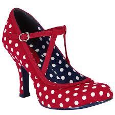 ladies ruby shoo jessica red spots 1950s vintage rockabilly retro