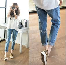 NewArrival 2018 Korean Style Womens Cowboy Hole Jeans Classic Denim Casual Loose Cross Pants Plus Size Baggy Capris 2633 In From