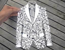 Groom Jacket paper cut SVG DXF EPS files and PDF PNG