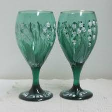 Wine Glasses Green Glass Vintage Stemware Hand Painted Lily Of The Valley