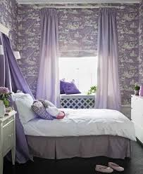 Purple Wallpaper With White Pattern Curtains And Pillows