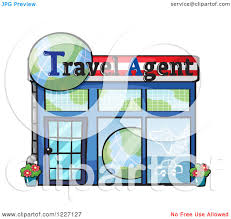 Clipart Of A Travel Agent Building Facade