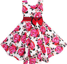 amazon com sunny fashion girls dress red rose party summer cotton