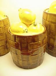 Gorgeous Lemon Kitchen Canisters Vintage Set By VintageRelief 4000