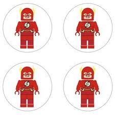 Flash Lego Superhero Inspired Edible Cupcake Toppers Decoration