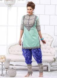 statuesque turquoise u0026 blue dupion silk punjabi suit