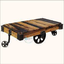 Reclaimed Wood Pallet Industrial Coffee Table On Wheels Shakunt