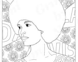 Angela Davis Portraits Coloring Pages For Adults Colouring PDF Printable