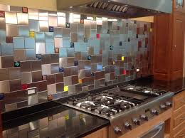 colorful glass accent tiles in backsplash by uneek glass fusions