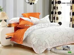 Orange forter Set Queen Home Design Premium Cotton White Line