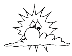 Sun Coloring Pages Free Printable Es The Cloud E And Clouds Simple Sunflower