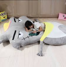 Dorimytrader 220cm X 170cm Hot Cartoon Wolf Beanbag Plush Soft Jumbo Bed Sofa Tatami Mattress With
