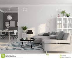 100 Scandinavian Interior Style Design 3D Rendering Stock Illustration