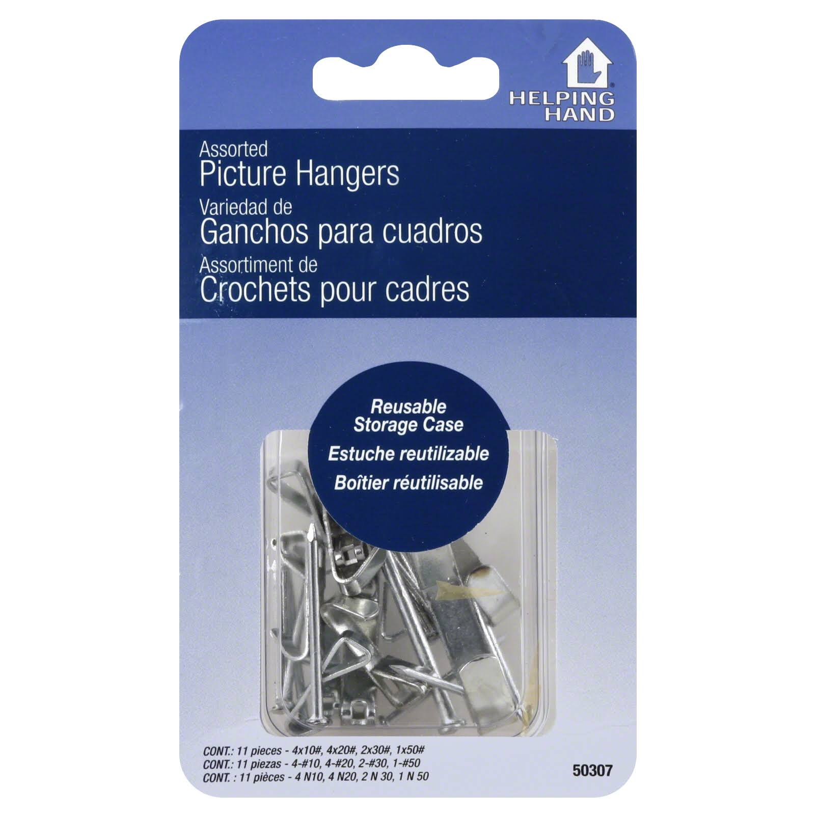 Helping Hand Assorted Picture Hangers - Silver, 11ct