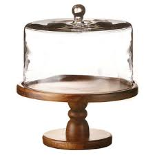 Wood Glass Pedestal Plate W Dome Cake Stands Tiered Trays