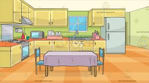 A Family Kitchen With Dining Table And Two Chairs Background