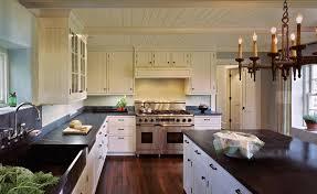 Off White Kitchen Farmhouse With Dark Wood Floor Cabinets