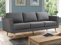 canapé 3 places ou 2 places tissu gris dovali